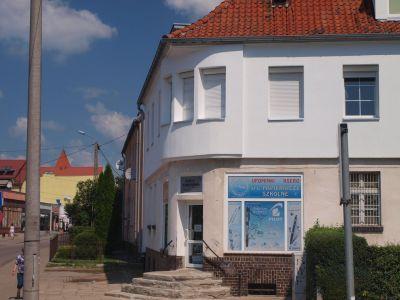 Zaokrąglona część budynku na rogu Bankowej i Piłsudskiego